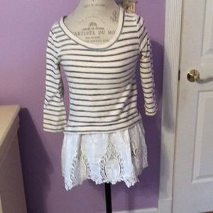 Cute striped top with lace underlay